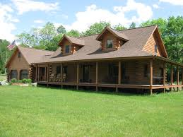 image of great log cabin homes with wrap around porches