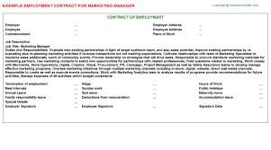 Marketing agency agreement is a contract developed or the strategy formulated that is necessary for promoting a recruitment agency. Marketing Manager Employment Contract