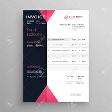 Modern Invoice Modern Invoice Template Design In Pink Theme Royalty Free Cliparts