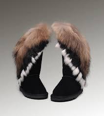 Ugg Fox Fur Tall 8688 Black Boots