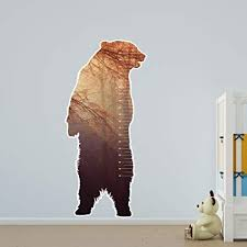 Amazon Com Childs Growth Chart Bear Silhouette Landscape