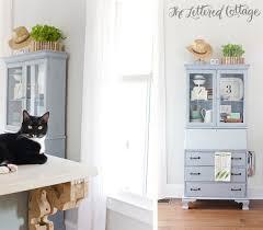 milk paint secretary hutch cottage kitchen