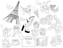 フランスパリのキュートなイメージ線画のイラスト無料素材
