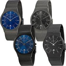 skagen titanium case ss mesh band mens watch blue or black skagen titanium case ss mesh band mens watch blue or black versions