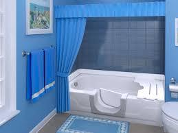 image of walk in bathtub shower combo blue design