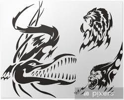 Plakát Krokodýl Lev A Levhart Tribal Dravci