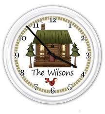 cottage cabin personalized silent wall clock country primitive decor rustic gift