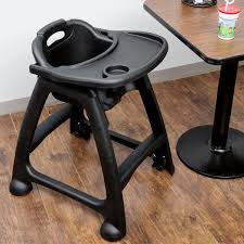 lancaster table seating assembled black stackable plastic restaurant high chair with tray and wheels