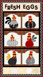 Funky Chickens Quilt Pattern FCP-013 (advanced beginner, lap) & Fresh Eggs Quilt Pattern FCP-033 Adamdwight.com