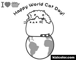 Pusheen Cat Coloring Pages New Pusheen Happy World Cat Day Free