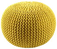 Yellow Accessories For Living Room Furniture Multi Colored Hand Knitted Pouf For Home Accessories