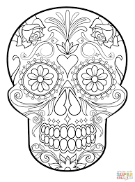 Sugar Skull Super Coloring Coloring Pages Skull Coloring Pages