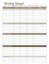 Printable Monthly Expense Sheet Download Budget Sheet Under Fontanacountryinn Com