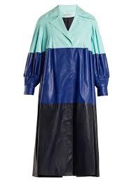 vika gazinskaya pleated colour block faux leather coat