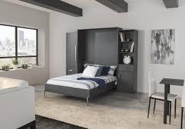 dark grey wall murphy bed double bed