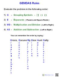 GEMDAS Rules Handout | teaching | Pinterest | Worksheets, Math and ...
