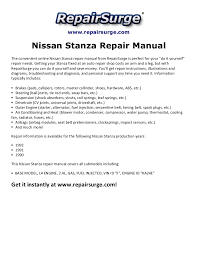 nissan stanza repair manual 1990 1992
