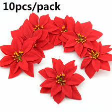 details about home decoration tree flowers xmas gift poinsettia glitter ornament