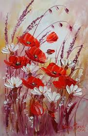 artículos similares a red poppies original oil painting meadow impasto white daisies flowers impression garden fl palette knife textured art europe