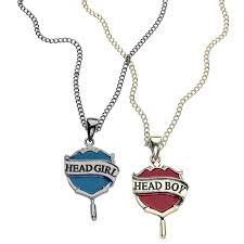 harry potter head boy head girl necklace set