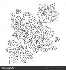 Hand Getrokken Vlinders Met Bloemmotief Voor Stress Kleurplaten