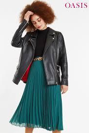 womens oasis black leather longlong biker jacket black 175 00 trinity leeds