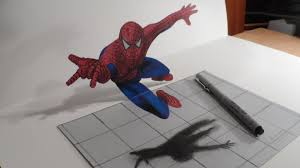 drawn optical illusion spiderman 1