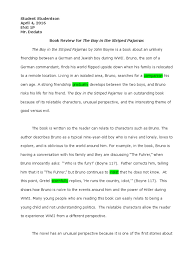 sample book review the boy in the striped pajamas