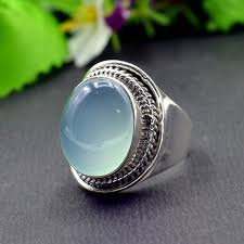 925 <b>Sterling Silver Natural Chalcedony</b> Oval Gemstone Ring R575 ...