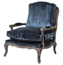 sasha blue velvet french style oak accent bergere accent armchair kathy kuo home