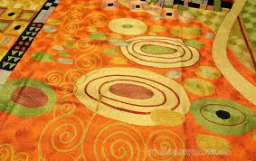 orange and green rug colorful fluffy with gradation