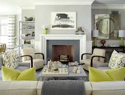 gray and green contemporary decor living room