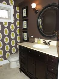 Black/brown combo --Silhouette Wallpaper in brown bathroom