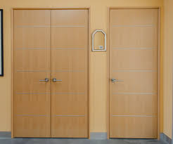 modern beech slab doors with inlaid aluminum bands banded slab door invisible hinges