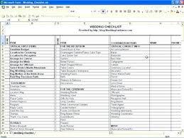 Wedding Planning Checklist Excel Spreadsheet Reception Template
