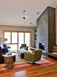 contemporary family room idea in minneapolis with a stone fireplace