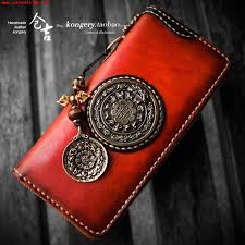 kurayoshi handmade wallet men and women long zipper bag youth original chinese style leather wallet vertical section leather clutch bag 547907367795