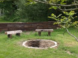 rustic fire pit benches photo - 2