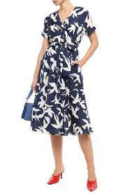 Etre Cecile Bird Jacques Printed Cotton And Silk-blend Twill Wrap Dress In  Navy | ModeSens