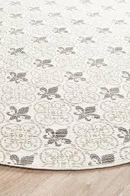 round braided cotton fleur de lis off white round rug