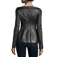 theory off the shoulder long sleeve leather jacket