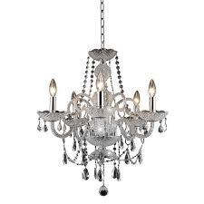 elegant lighting princeton 5 light royal crystal chandelier in chrome