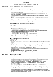 Manufacturing Engineer Resume Sample Principal Manufacturing Engineer Resume Samples | Velvet Jobs