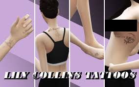 est. oct 7 2018 — Lily Collins' tattoos converted for The Sims 4....