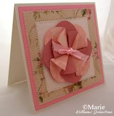 Paper Rosette Flower Folded Flower Card With Free Template