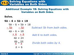 additional example 1b solving equations with variables on both sides