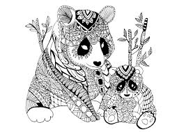 A Mama Panda Zentangle With Its Baby An Endangered Species From