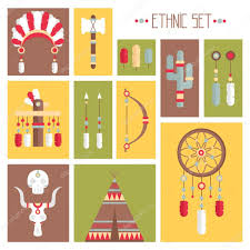 What Native American Tribes Use Dream Catchers Vector colorful ethnic set with dream catcher feathers arrows 54