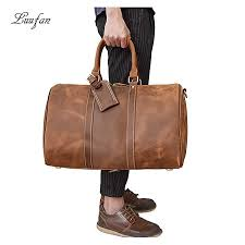 mens leather travel duffel bag big capacity durable crazy horse cow leather large shoulder weekend bag