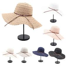 women summer beach foldable floppy beach sun hat wide brim packable solid color faux leather bowknot weave lace bucket cap floppy hats black floppy hat from